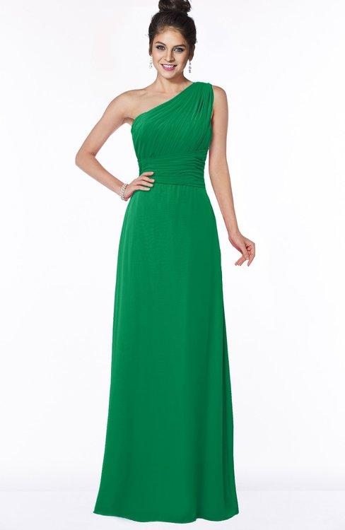 ColsBM Adalyn Green Mature Sheath Sleeveless Half Backless Chiffon Ruching Bridesmaid Dresses