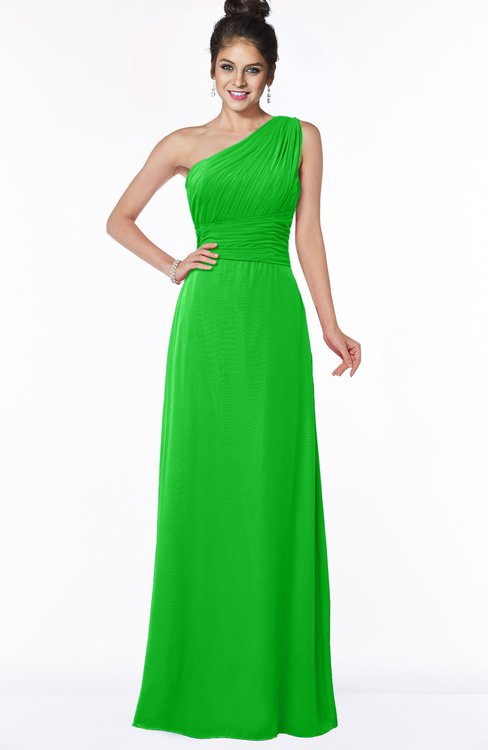 ColsBM Adalyn Jasmine Green Mature Sheath Sleeveless Half Backless Chiffon Ruching Bridesmaid Dresses