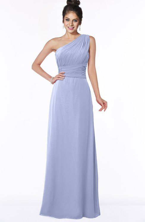 ColsBM Adalyn Lavender Mature Sheath Sleeveless Half Backless Chiffon Ruching Bridesmaid Dresses