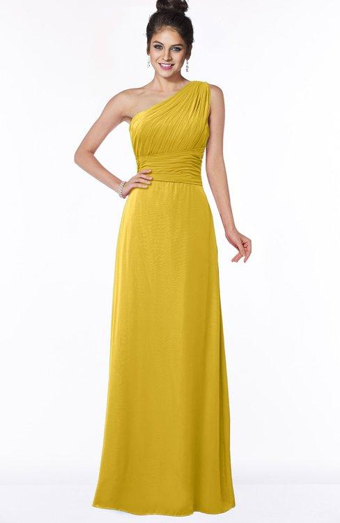 ColsBM Adalyn Lemon Curry Mature Sheath Sleeveless Half Backless Chiffon Ruching Bridesmaid Dresses