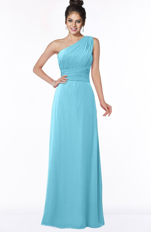 ColsBM Adalyn Light Blue Mature Sheath Sleeveless Half Backless Chiffon Ruching Bridesmaid Dresses