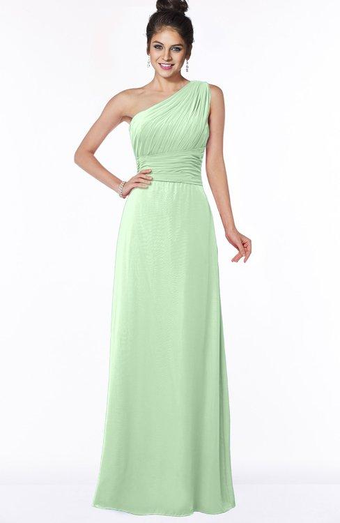 ColsBM Adalyn Light Green Mature Sheath Sleeveless Half Backless Chiffon Ruching Bridesmaid Dresses