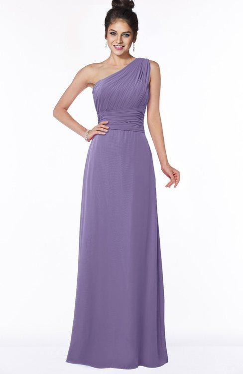 ColsBM Adalyn Lilac Mature Sheath Sleeveless Half Backless Chiffon Ruching Bridesmaid Dresses