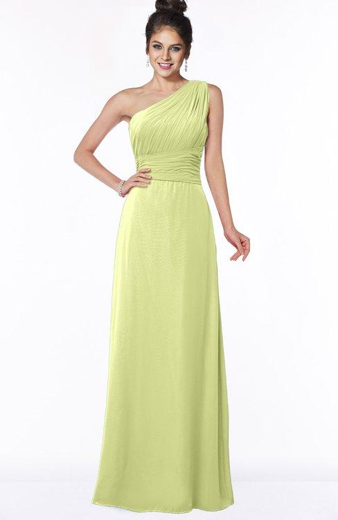 ColsBM Adalyn Lime Sherbet Mature Sheath Sleeveless Half Backless Chiffon Ruching Bridesmaid Dresses