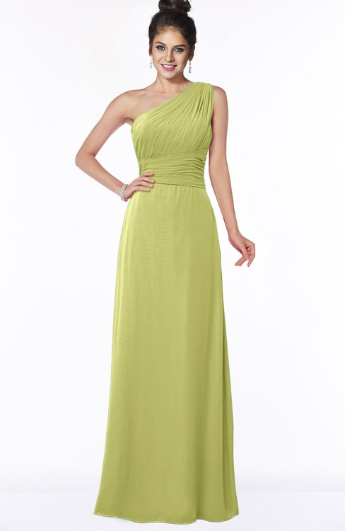 ColsBM Adalyn Linden Green Mature Sheath Sleeveless Half Backless Chiffon Ruching Bridesmaid Dresses