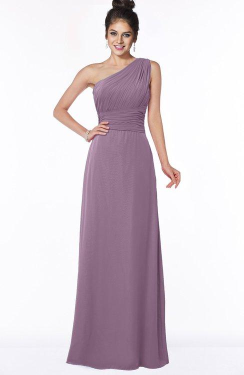 ColsBM Adalyn Mauve Mature Sheath Sleeveless Half Backless Chiffon Ruching Bridesmaid Dresses