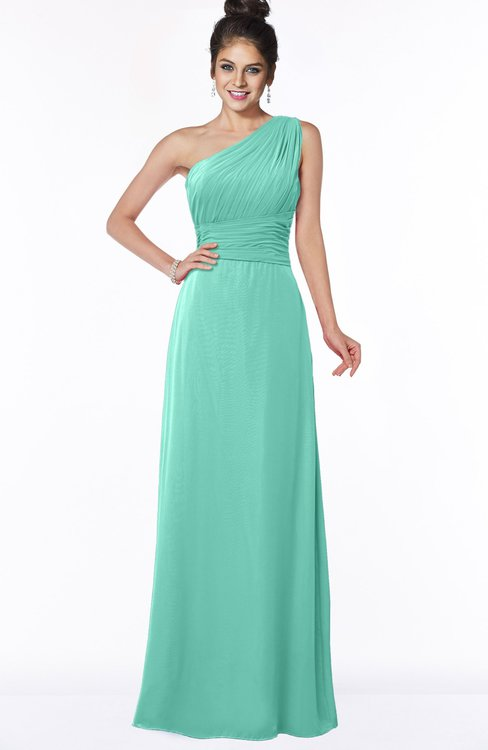 ColsBM Adalyn Mint Green Mature Sheath Sleeveless Half Backless Chiffon Ruching Bridesmaid Dresses