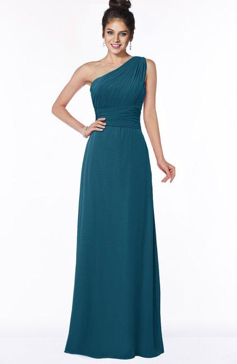 ColsBM Adalyn Moroccan Blue Mature Sheath Sleeveless Half Backless Chiffon Ruching Bridesmaid Dresses