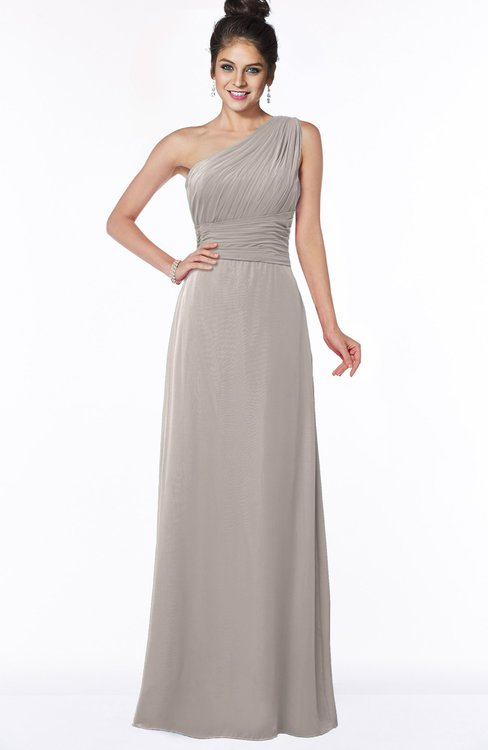 ColsBM Adalyn Mushroom Mature Sheath Sleeveless Half Backless Chiffon Ruching Bridesmaid Dresses