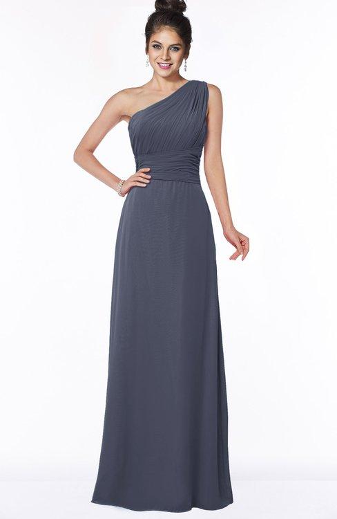 ColsBM Adalyn Nightshadow Blue Mature Sheath Sleeveless Half Backless Chiffon Ruching Bridesmaid Dresses