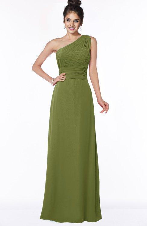 ColsBM Adalyn Olive Green Mature Sheath Sleeveless Half Backless Chiffon Ruching Bridesmaid Dresses