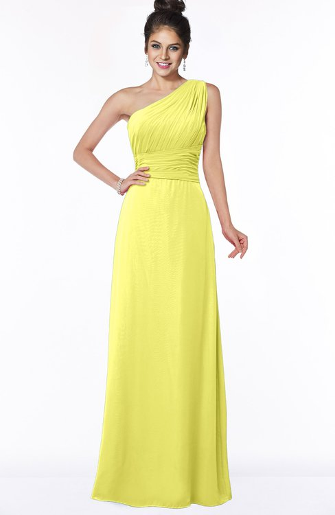 ColsBM Adalyn Pale Yellow Mature Sheath Sleeveless Half Backless Chiffon Ruching Bridesmaid Dresses