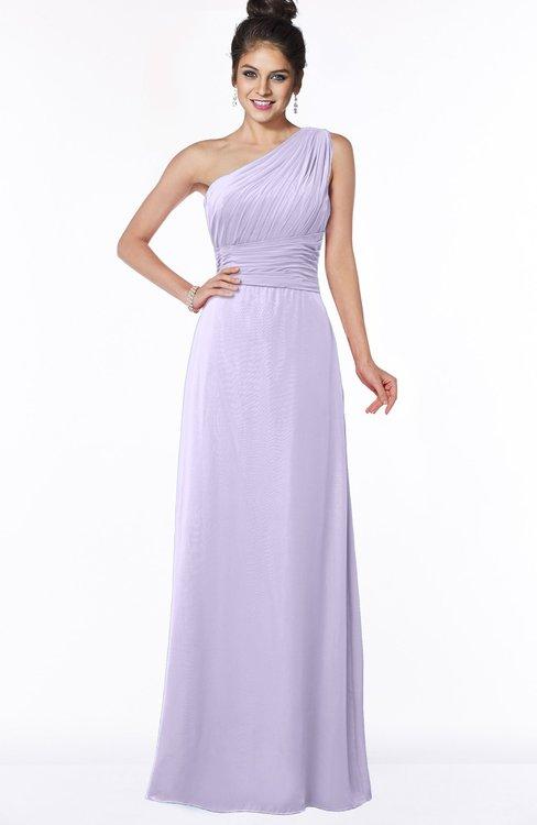ColsBM Adalyn Pastel Lilac Mature Sheath Sleeveless Half Backless Chiffon Ruching Bridesmaid Dresses