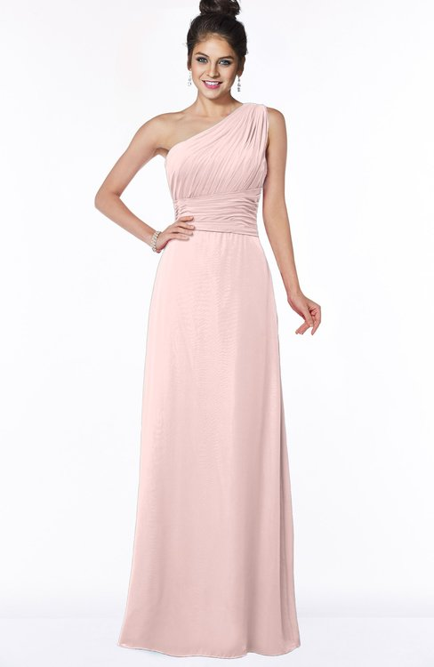 ColsBM Adalyn Pastel Pink Mature Sheath Sleeveless Half Backless Chiffon Ruching Bridesmaid Dresses