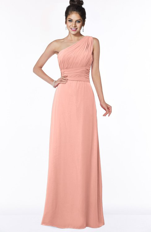 ColsBM Adalyn Peach Mature Sheath Sleeveless Half Backless Chiffon Ruching Bridesmaid Dresses