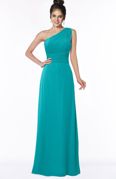 ColsBM Adalyn Peacock Blue Mature Sheath Sleeveless Half Backless Chiffon Ruching Bridesmaid Dresses