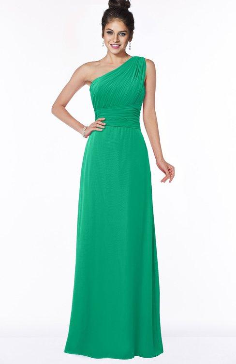 ColsBM Adalyn Pepper Green Mature Sheath Sleeveless Half Backless Chiffon Ruching Bridesmaid Dresses