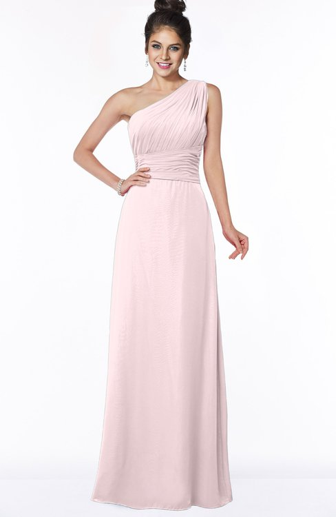 ColsBM Adalyn Petal Pink Mature Sheath Sleeveless Half Backless Chiffon Ruching Bridesmaid Dresses