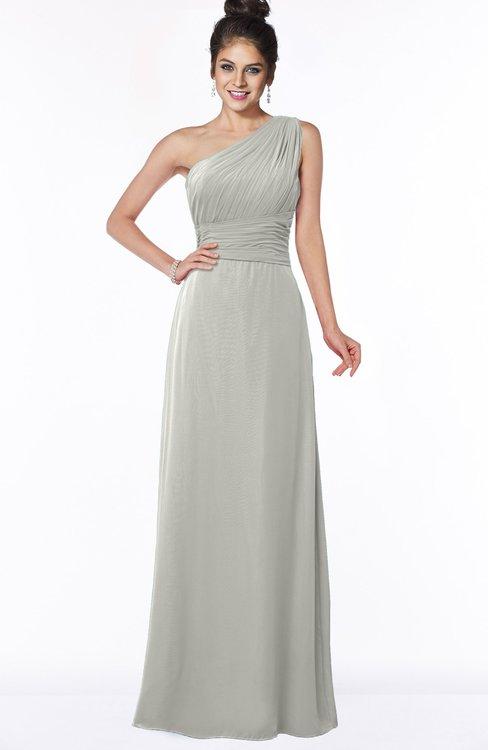 ColsBM Adalyn Platinum Mature Sheath Sleeveless Half Backless Chiffon Ruching Bridesmaid Dresses