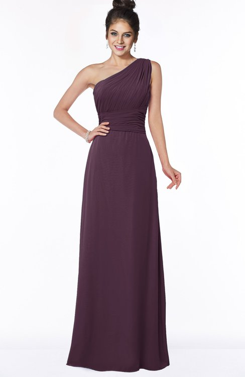 ColsBM Adalyn Plum Mature Sheath Sleeveless Half Backless Chiffon Ruching Bridesmaid Dresses
