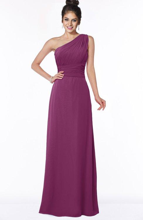 ColsBM Adalyn Raspberry Mature Sheath Sleeveless Half Backless Chiffon Ruching Bridesmaid Dresses