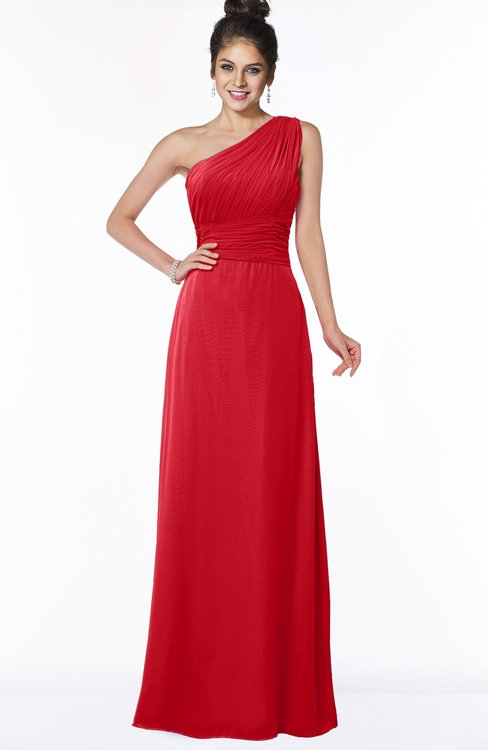 ColsBM Adalyn Red Mature Sheath Sleeveless Half Backless Chiffon Ruching Bridesmaid Dresses