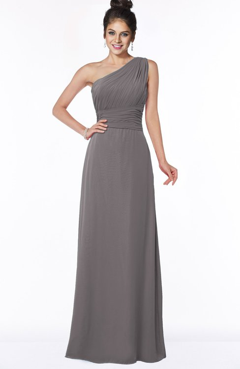 ColsBM Adalyn Ridge Grey Mature Sheath Sleeveless Half Backless Chiffon Ruching Bridesmaid Dresses