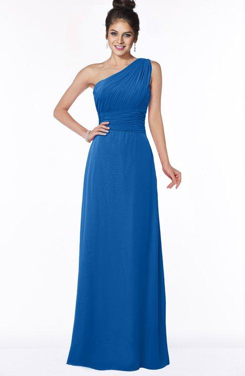 ColsBM Adalyn Royal Blue Mature Sheath Sleeveless Half Backless Chiffon Ruching Bridesmaid Dresses
