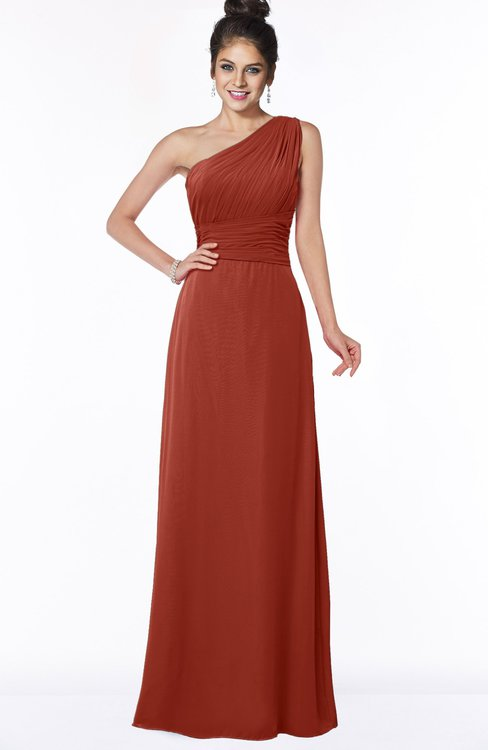 ColsBM Adalyn Rust Mature Sheath Sleeveless Half Backless Chiffon Ruching Bridesmaid Dresses