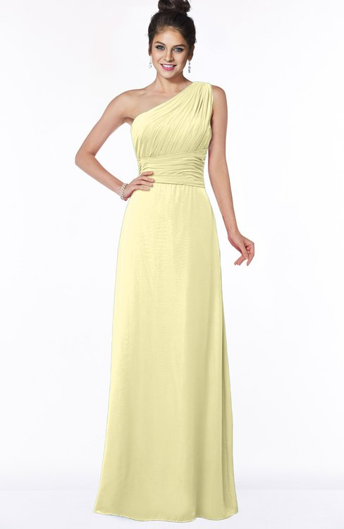 ColsBM Adalyn Soft Yellow Mature Sheath Sleeveless Half Backless Chiffon Ruching Bridesmaid Dresses