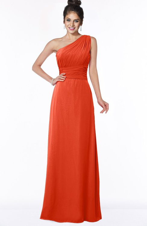 ColsBM Adalyn Tangerine Tango Mature Sheath Sleeveless Half Backless Chiffon Ruching Bridesmaid Dresses