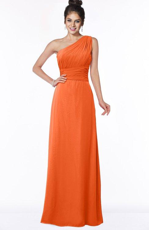 ColsBM Adalyn Tangerine Mature Sheath Sleeveless Half Backless Chiffon Ruching Bridesmaid Dresses