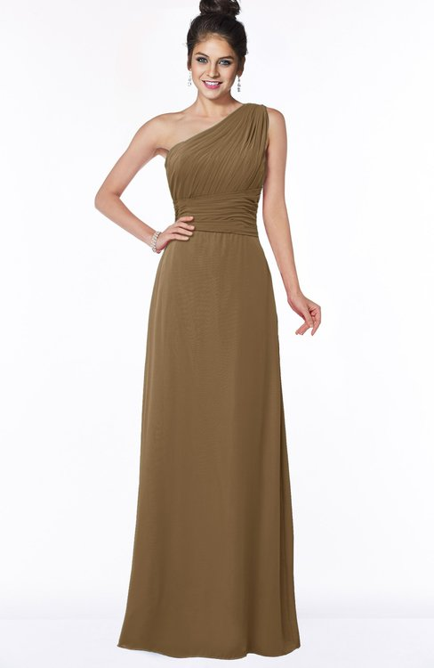ColsBM Adalyn Truffle Mature Sheath Sleeveless Half Backless Chiffon Ruching Bridesmaid Dresses