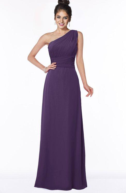 ColsBM Adalyn Violet Mature Sheath Sleeveless Half Backless Chiffon Ruching Bridesmaid Dresses