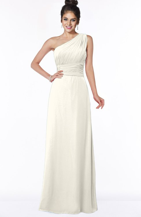 ColsBM Adalyn Whisper White Mature Sheath Sleeveless Half Backless Chiffon Ruching Bridesmaid Dresses