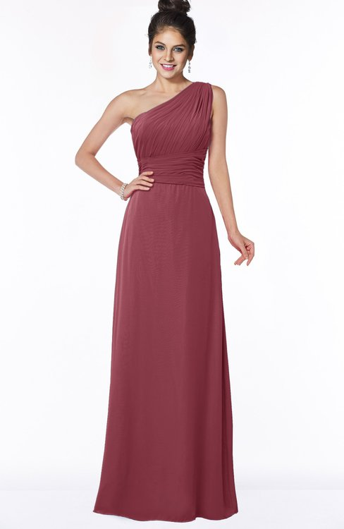ColsBM Adalyn Wine Mature Sheath Sleeveless Half Backless Chiffon Ruching Bridesmaid Dresses