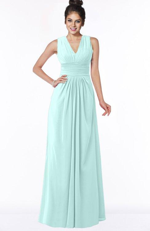 ColsBM Isla Blue Glass Elegant V-neck Sleeveless Chiffon Floor Length Ruching Bridesmaid Dresses