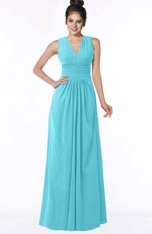 ColsBM Isla Turquoise Elegant V-neck Sleeveless Chiffon Floor Length Ruching Bridesmaid Dresses