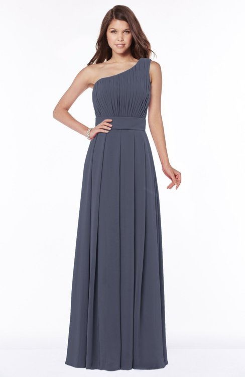 ColsBM Adeline Nightshadow Blue Gorgeous A-line One Shoulder Zip up Floor Length Pleated Bridesmaid Dresses