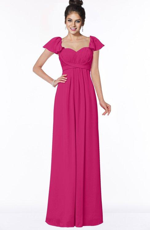 ColsBM Siena Beetroot Purple Modern A-line Wide Square Short Sleeve Zip up Pleated Bridesmaid Dresses