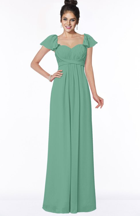 ColsBM Siena Beryl Green Modern A-line Wide Square Short Sleeve Zip up Pleated Bridesmaid Dresses