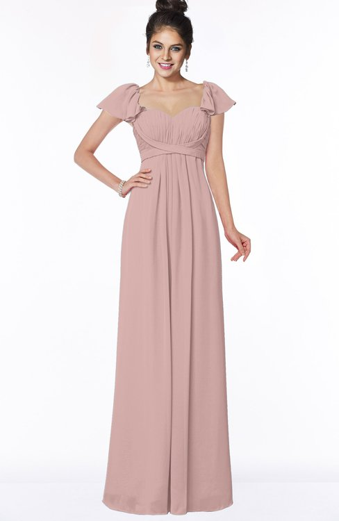 ColsBM Siena Blush Pink Modern A-line Wide Square Short Sleeve Zip up Pleated Bridesmaid Dresses