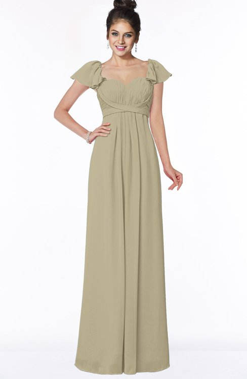 ColsBM Siena Candied Ginger Modern A-line Wide Square Short Sleeve Zip up Pleated Bridesmaid Dresses