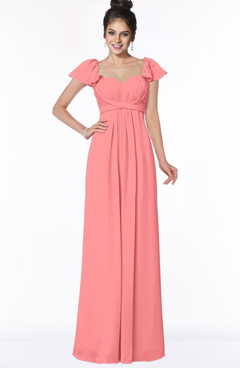 ColsBM Siena Shell Pink Modern A-line Wide Square Short Sleeve Zip up Pleated Bridesmaid Dresses