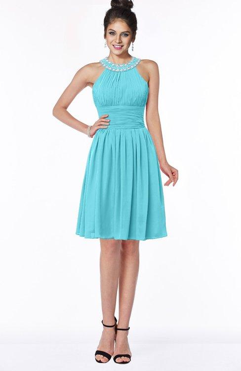 ColsBM Liana Turquoise Cute A-line Jewel Chiffon Pleated Bridesmaid Dresses