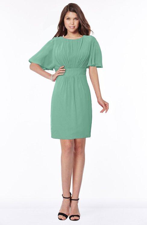 ColsBM Talia Beryl Green Luxury A-line Short Sleeve Zip up Chiffon Pleated Bridesmaid Dresses