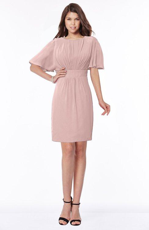ColsBM Talia Blush Pink Luxury A-line Short Sleeve Zip up Chiffon Pleated Bridesmaid Dresses