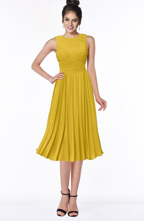 ColsBM Aileen Lemon Curry Gorgeous A-line Sleeveless Chiffon Pick up Bridesmaid Dresses