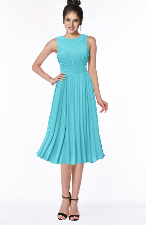 ColsBM Aileen Turquoise Gorgeous A-line Sleeveless Chiffon Pick up Bridesmaid Dresses