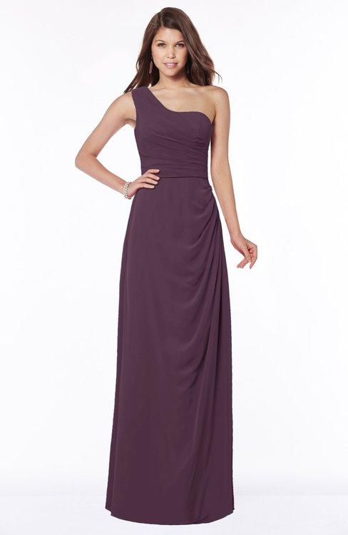 ColsBM Fran Plum Modest A-line One Shoulder Zip up Chiffon Bridesmaid Dresses